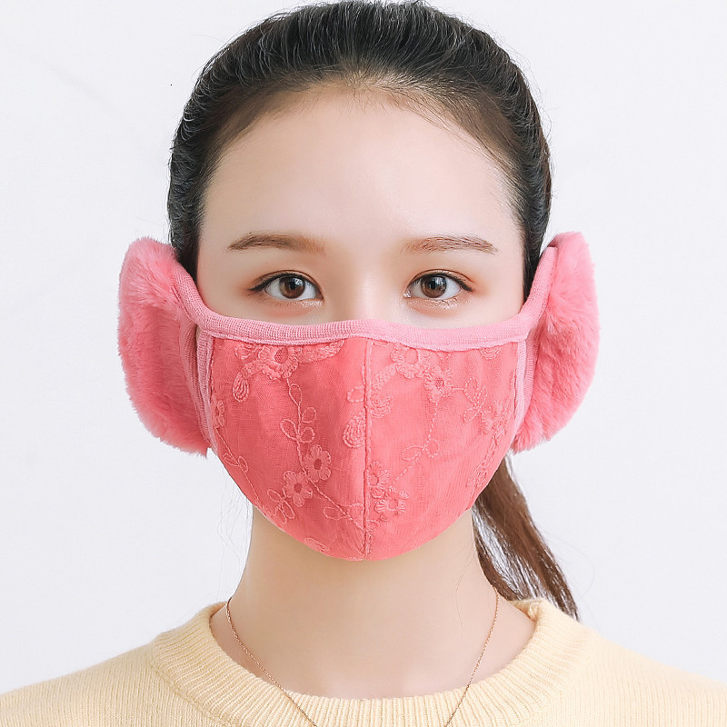 2 In 1 Cotton Breathable Soft Warm Mouth Mask With Ear Muff Dustproof Protective Eye Corner Stereo Winter Cyling Facial Masks