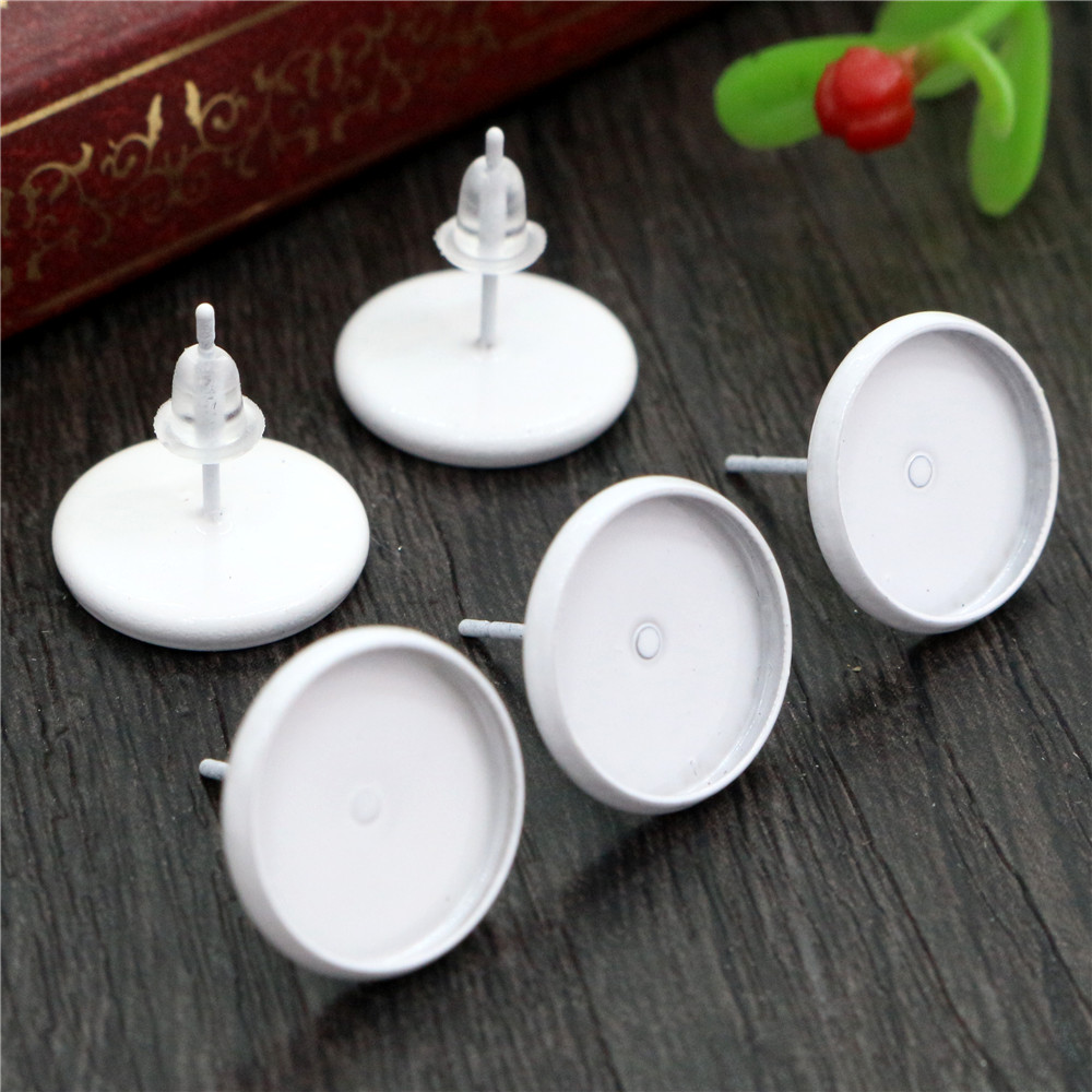 12mm 20pcs White Color Plated Earring Studs,Earrings Blank/Base,Fit 12mm Glass Cabochons,Buttons;Earring Bezels (L2-02)
