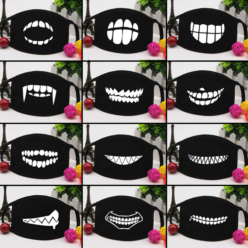 3 Pcs Cotton Mask Cartoon  Washable Dustproof Keep Warm Anti-dust Unisex Face Mouth Cover Breathable Black Color