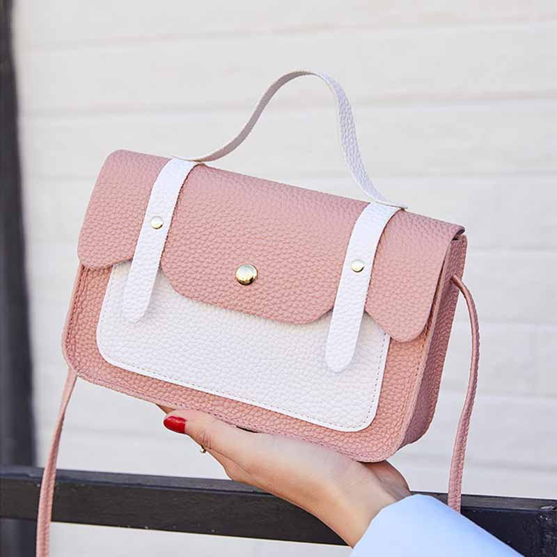 LISM  Ladies Shoulder Bag Leather Hit Color Small Girls Handbag Versatile Fashion Luxury Women Messenger Bags Drop Ship 2019