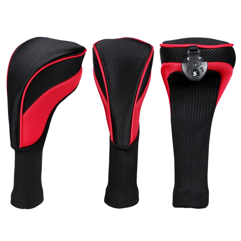 3Pcs/Pack Long Neck Golf Hybrid Club Head Covers Interchangeable(1#3#5#)
