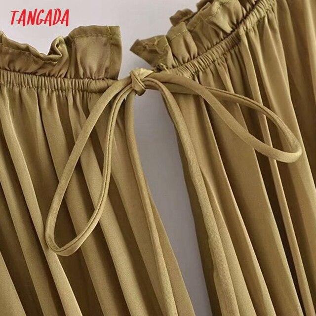 Tangada Women Sexy Satin Cut-out Dress Sleeveless Backless 2021 Summer Fashion Lady Dresses 3H788 2