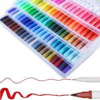 100 Color plumas arte marcadores Anime letras Waterolor pintura cepillo pluma pincel de doble punta marcador Set