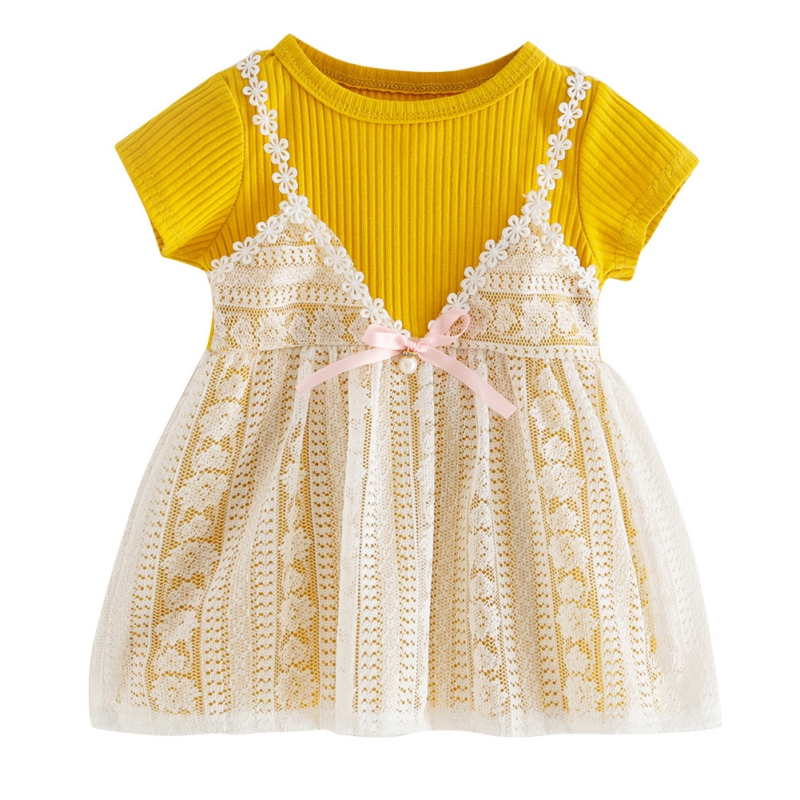 Newborn Baby Girl Lace Princess Dress Summer Toddler Short Sleeve Dresses Wedding Birthday Party Clothes 0-24M Baby Girl Clothes
