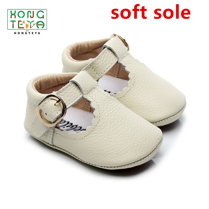 2020 Genuine Leather Baby First Walkers T-bar Buckle Paste Baby Moccasins Soft Bottom Princess Crib Shoes Baby Girl Infant Shoe