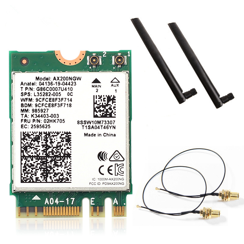 Dual Band 2974Mbps Wireless Network Card <font><b>Intel</b></font> <font><b>AX200</b></font> <font><b>Wi</b></font>-<font><b>Fi</b></font> <font><b>6</b></font> AX200NGW NGFF M.2 Wifi Bluetooth 5.1 antenna MHF4 Desktop Kit image