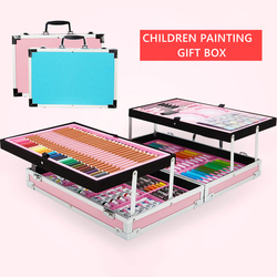 Portable Aluminum Alloy Suitcase Solid Watercolor Paint Oil Paints Water Color Pen Colored Pencil For Painting Gift Set Supplies