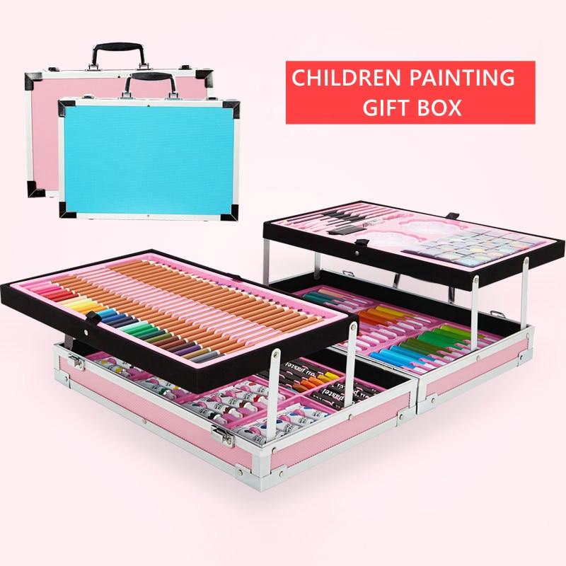 Ofis ve Okul Malzemeleri'ten Sanat Setleri'de Taşınabilir Alüminyum Alaşım Bavul Katı Suluboya Boya Yağlı Boya Su Renk Kalem Renkli Kalem Boyama Hediye Seti Malzemeleri'da  Grup 1