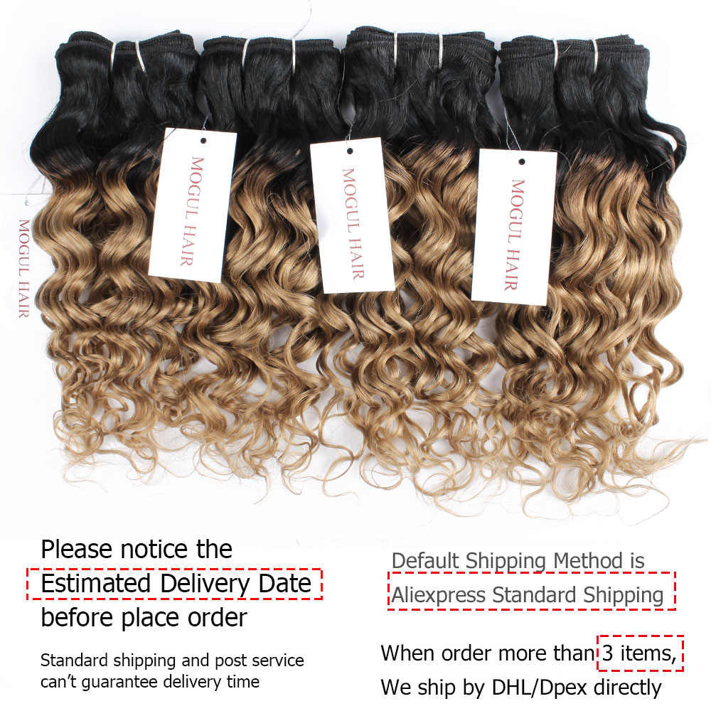 MOGUL HAIR 50g / pc 4/6 Paquetes con cierre Water Wave Ombre Honey Blonde Brazilian Remy Cabello humano Brown Short Bob Style