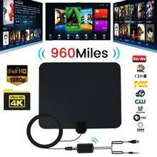 Antenne de télévision numérique HD amplifiée en intérieur, portée de 960 miles, avec 4K HD1080P DVB-T, vue libre des chaînes de diffusion, pour maison intelligente