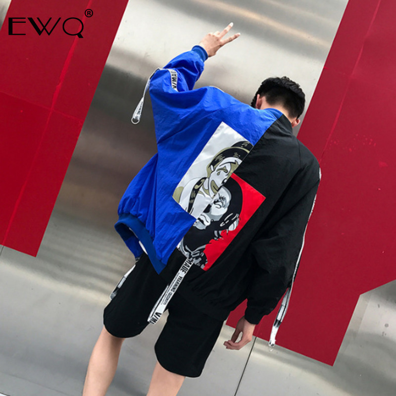 EWQ / 2020 Spring New Men's Clothing Hit Color Patchwork Loose Coat Men Women Jacket All-match Casual Coat Tide Streetwear 9Y293