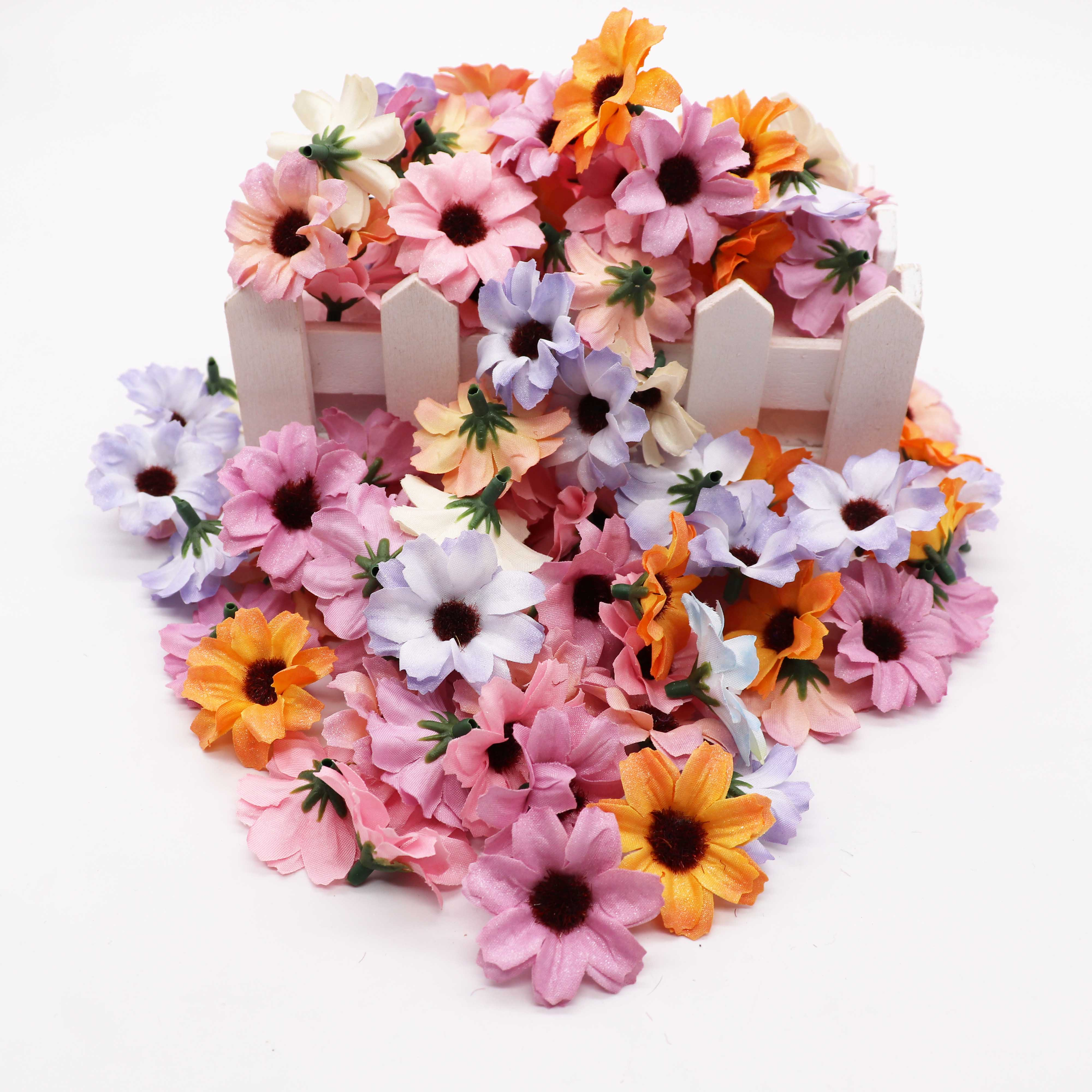 DIY Wreath Daisies Wedding-Decoration Artificial-Flowers Silk Small Candy-Box-Accessories title=