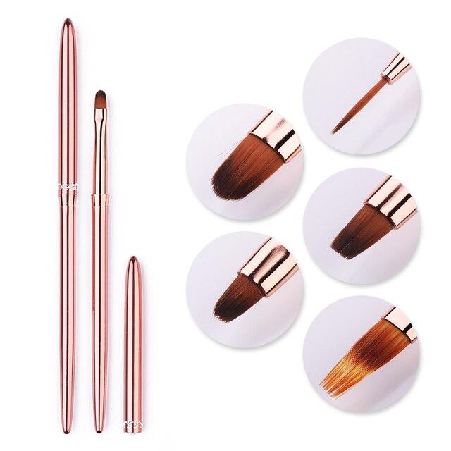 1 Pcs Rose Gold UV Gel Liner Painting Brush Portable Drawing Nail Brush Pen Handle  Nail Art Tool 5