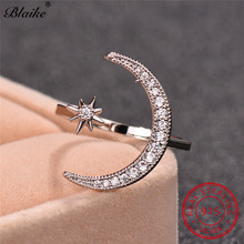 Boho Female Open Star Moon Rings For Women 925 Sterling Silver Ring Cute White Crystal Ring Stacking Minimalist Wedding Jewelry