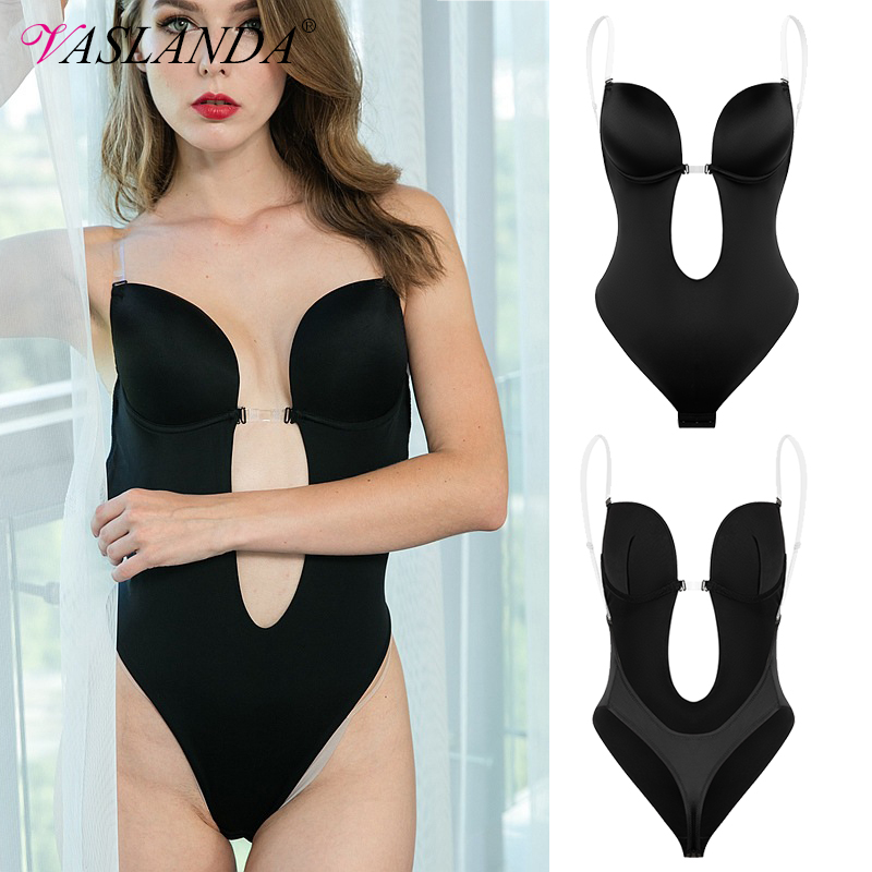 Woman Deep V Bodysuit Clear Strap Backless U Plunge Thong Shapewear Padded Bra Full Body Shaper Seamless Slimming Underwear
