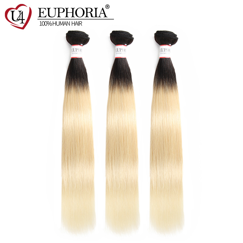Brazilian Blonde 613 Human Hair Weave Bundles 8-26inch EUPHORIA Ombre Color Straight Human Hair Weft Extension 100% Remy Weaving