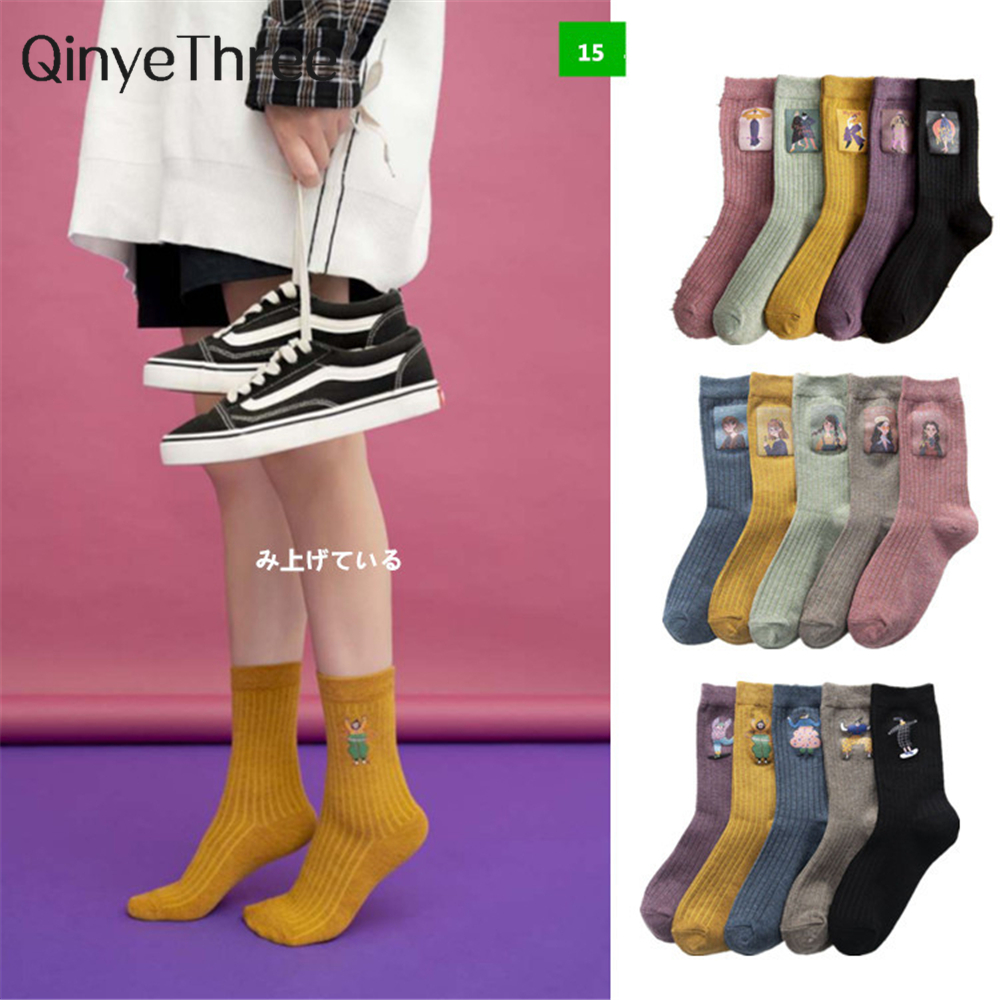 2020 New Women Soft Cotton Thermoprint Socks Breathable Deodorant Cute Hot Stamping Cartoon Fashion Brief Wild Trend Motion Sock