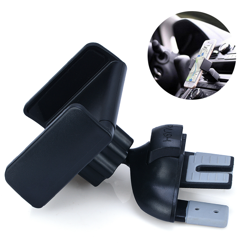 Universal 1pc Car Van CD Slot Smart Mobile Phone Rotation Mount Holder Stand Bracket ABS+TPE