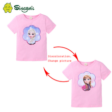 цена на SINGBAIL 2-8T Cute Baby Girls Princess T-shirt Cotton Double-Sided Pattern Sequin Clothes Tops Cartoon Print T Shirts O-neck New