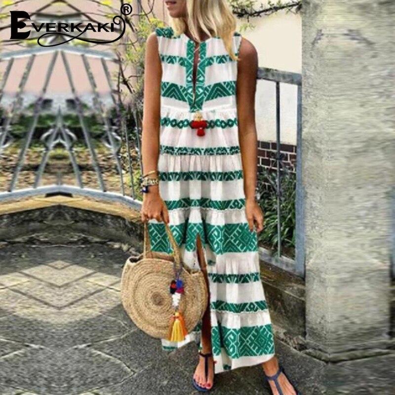 Everkaki Boho Striped Print Maxi Dress Women Summer Vestidos Sashes Ladies Gypsy Split Long Dresses Female 2020 New Fashion