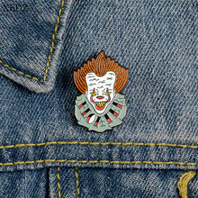 XEDZ Horror Movie Cartoon Character Vampire Enamel Pin Funny Clown Letter Clothes Shirt Badge Backpack Lapel Brooch Jewelry Gift(China)