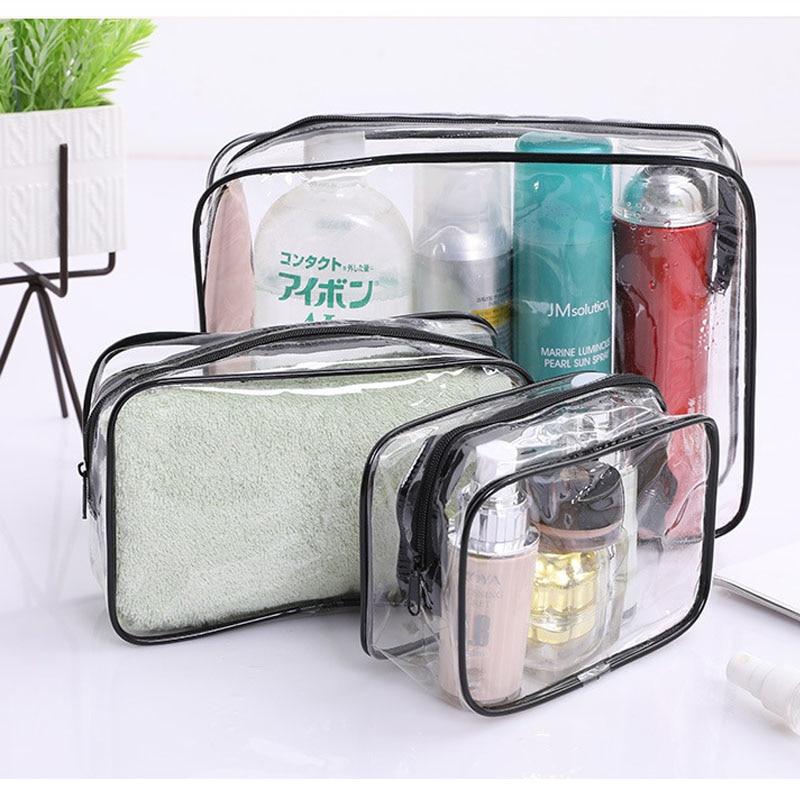 Outdoor Travel Thicken PVC Cosmetic Bag Women Transparent Clear Zipper Makeup Bag Organizer Bath Wash Make Up Tote Handbags Case