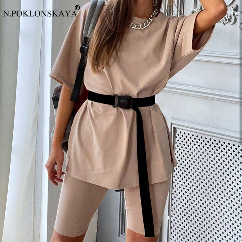 Women Casual Solid Two Piece Suit Including Belt Solid Color Home Loose Suits Household Sports Fashion Leisure Suit Summer 2020