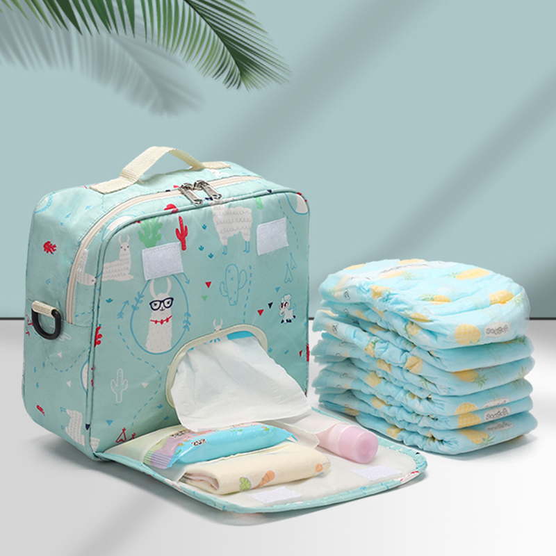 Baby Diaper Bags Maternity Bag For Disposable Reusable Fashion Prints Wet Dry Diaper Bag Double Handle Wetbags 23*22*10CM