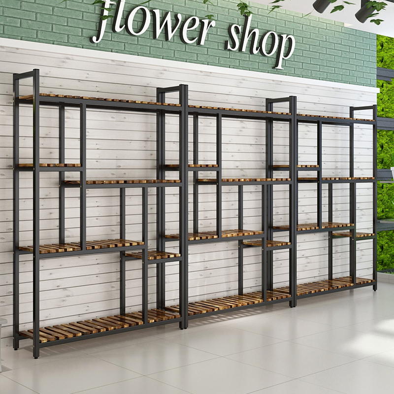 Shelves Green Luo Flower Rack Solid Wood Iron Art A Living Room Multi-storey Landing Type Indoor Flowerpot Rack Many Function