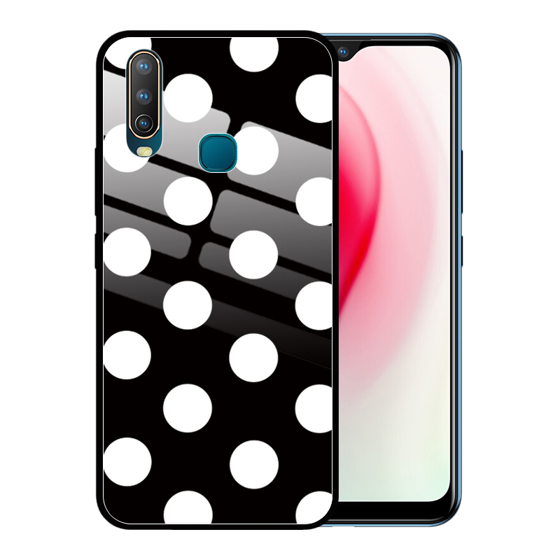 Cute Dot Girls Luxury Tempered Glass <font><b>Case</b></font> Cover for <font><b>VIVO</b></font> Y15 <font><b>Y17</b></font> Y12 Y93 Y85 Y81 Y19 Y75 U3 Y66 Coque Funda image