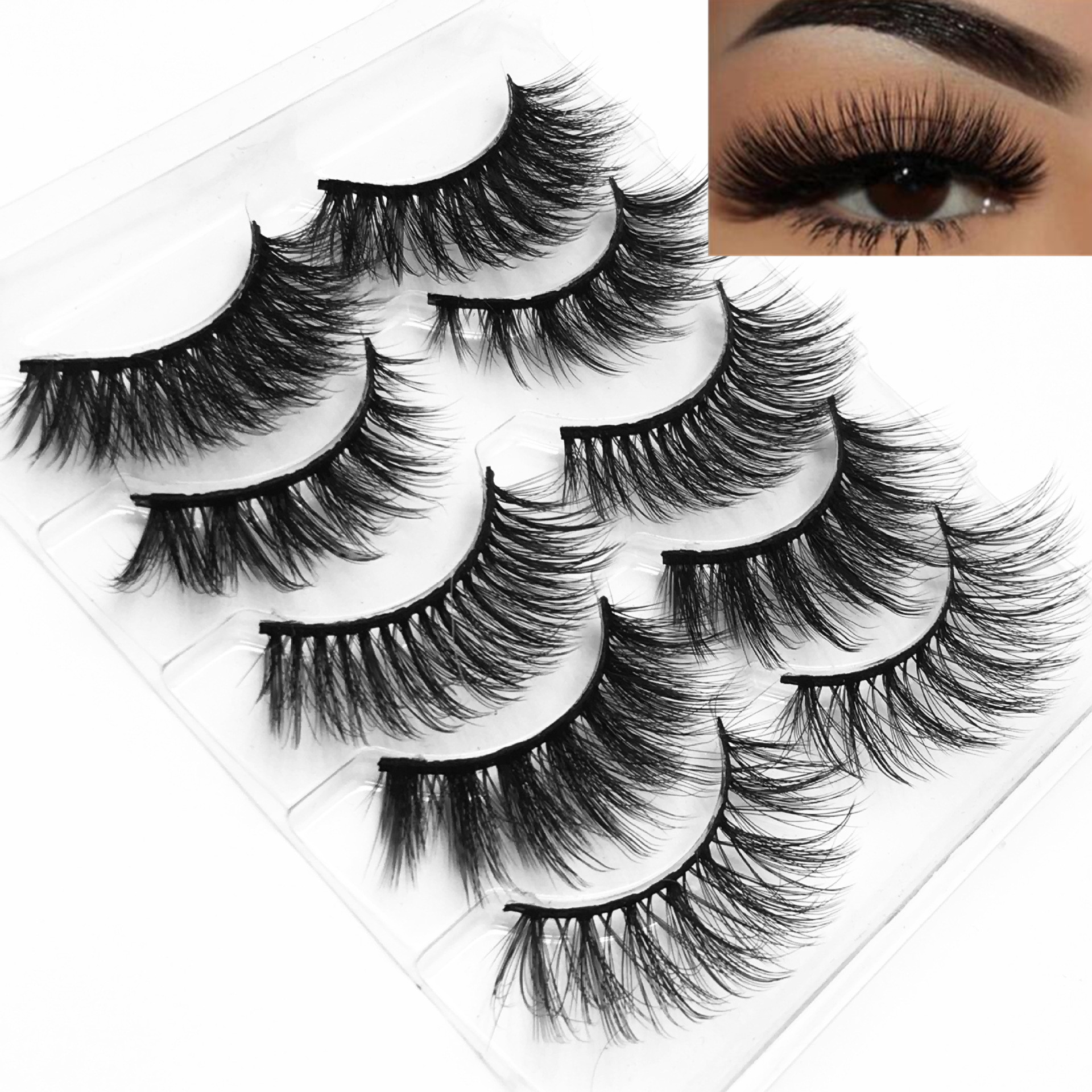 Best Eyelashes 5 Pairs 3d Lashes Mink Eyelashes Handmade False Eyelashes Soft Fluffy Natural Eyelashes 3d Eyelash Extension