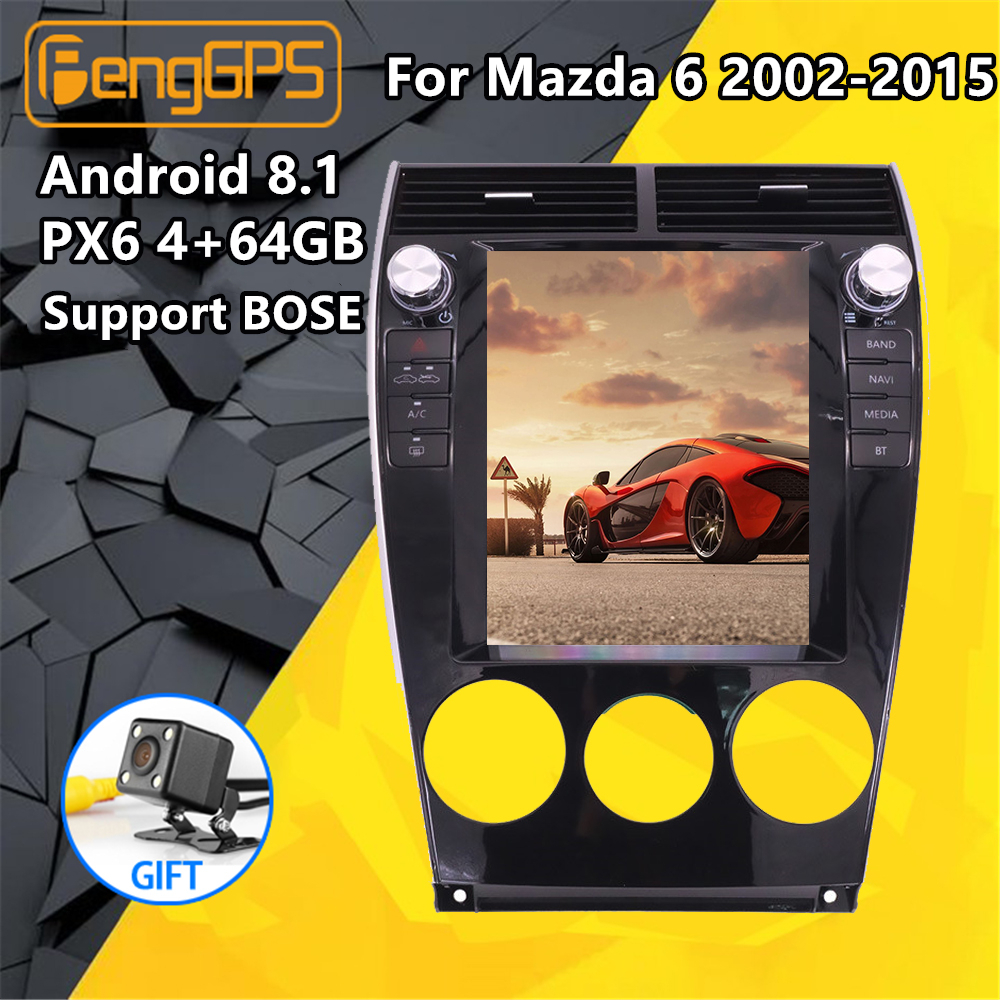 Tesla screen Style <font><b>Android</b></font> PX6 For <font><b>Mazda</b></font> <font><b>6</b></font> 2002-15 Car <font><b>Multimedia</b></font> Player No DVD Stereo Audio Radio Car GPS Navigation Head unit image