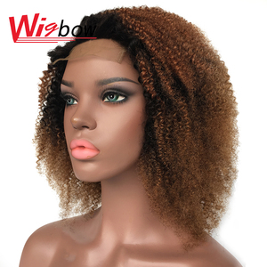 Short Kinky Curly Wig Curly Closure Wig For Women Peruvian Human Hair 4*4 Brown Lace Wigs 150% T1b 30 33 27 39j 99j Colored Wigs