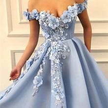 Выпускные платья с открытыми плечами вечерние платья с цветочной аппликацией красивое платье принцессы Тюлевое платье с открытой спиной de soiree