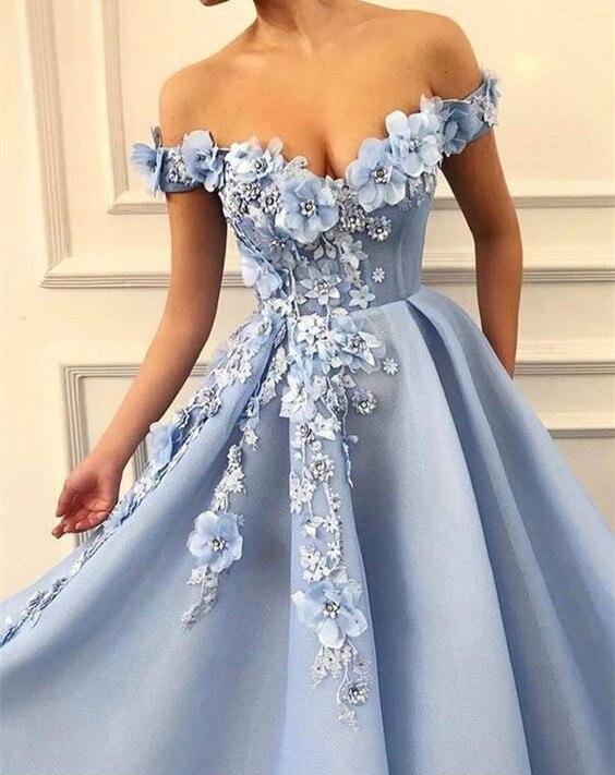 2019 robes de bal hors de l'épaule robes de soirée fleurs Appliques belle robe de princesse Tulle dos nu robe de soirée