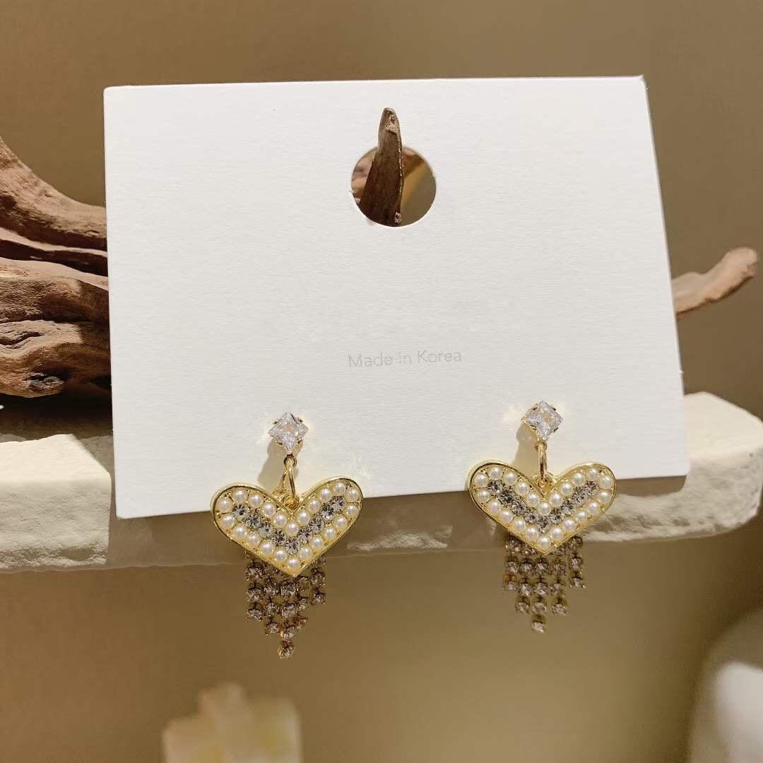 Pearl Earings Fashion Jewelry 2020 Heart Shape Zircon Tassels Ear Ring for Women European Korean Trendy Elegant Style Luxury New