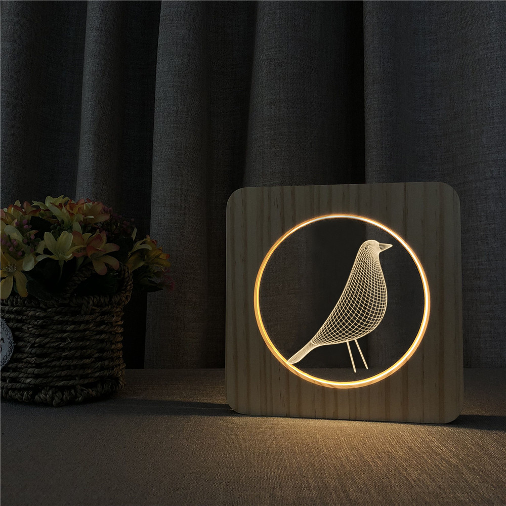 Cat Dinosaur Pigeon Sparrow Bird 3D LED Acrylic Wooden Night Lamp Table Light Carving Lamp for Children's Room Gift image