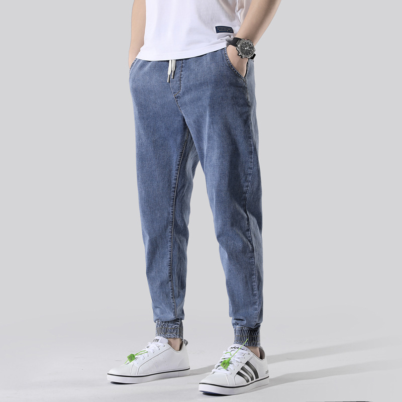 Spring And Summer-Harem Jeans Men's Loose-Fit Casual Lace-up Skinny Pants Men Elasticity Slim Fit Ankle Banded Pants Trend