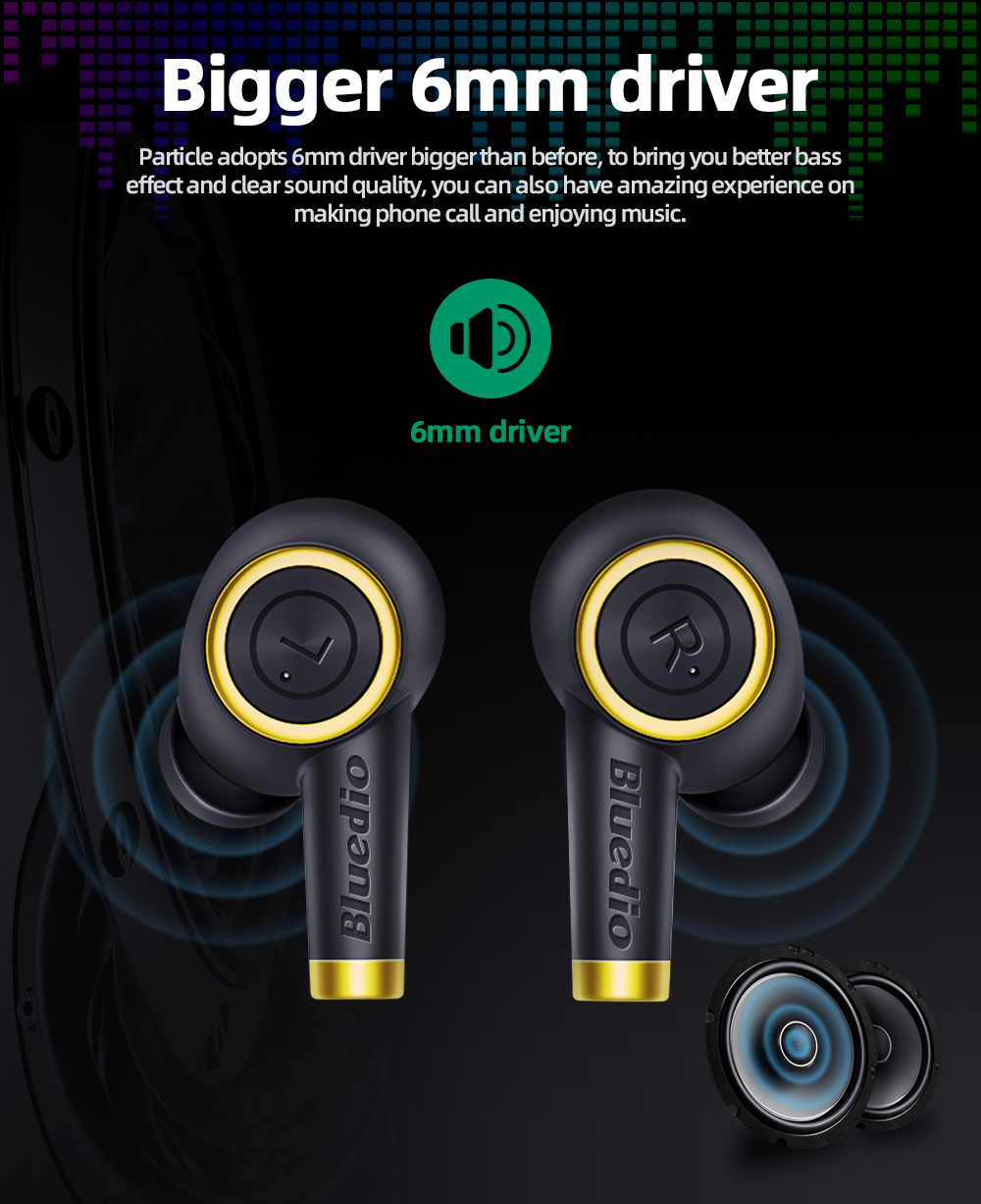 Bluedio Particle Wireless Earphone Earbuds Sport TWS Headset with Charging Box