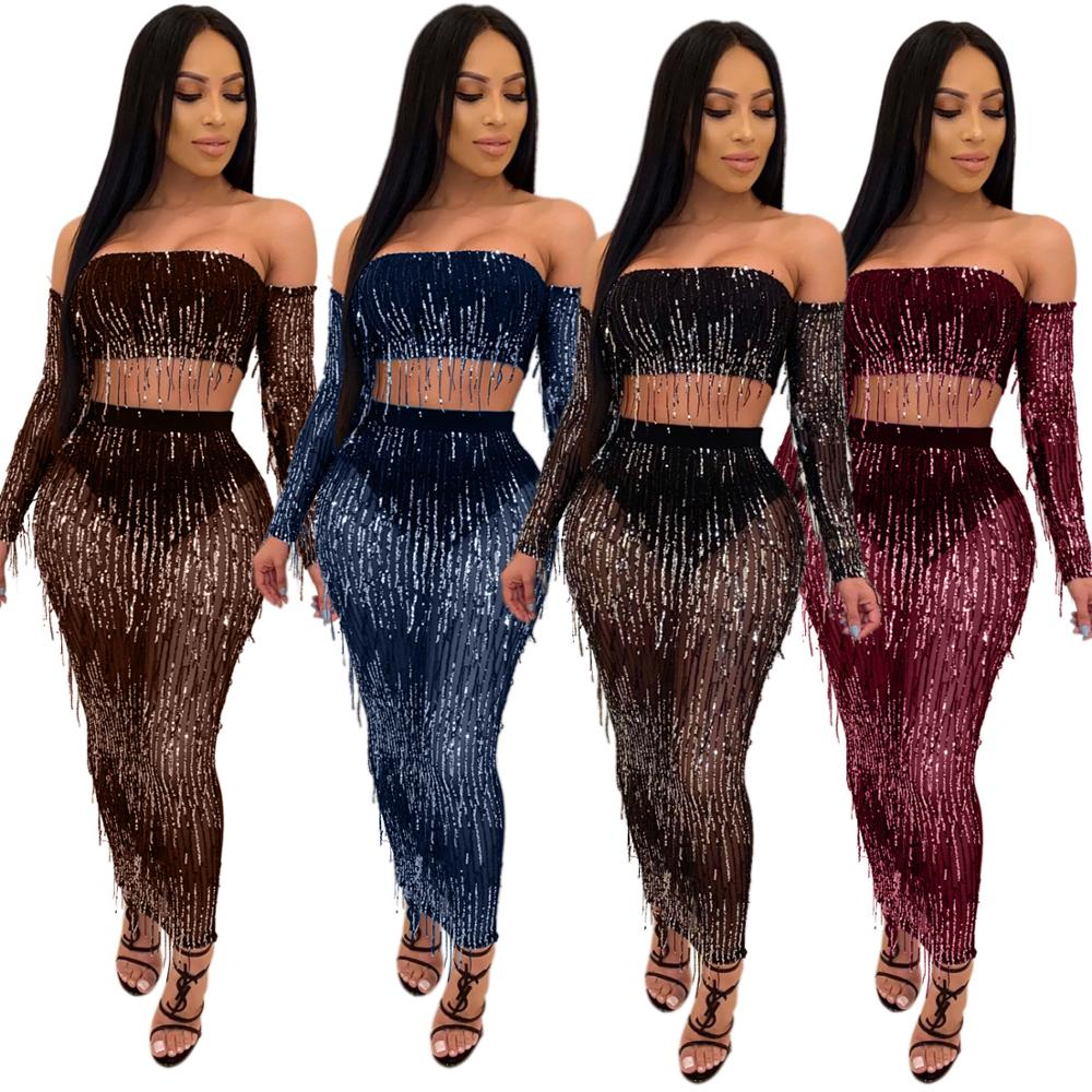 2 Piece Female Tracksuit Long Sleeve <font><b>Top</b></font> And <font><b>Skirt</b></font> Sexy See Through Two Piece <font><b>Set</b></font> Outfits Evening Party Night Matching <font><b>Sets</b></font> image