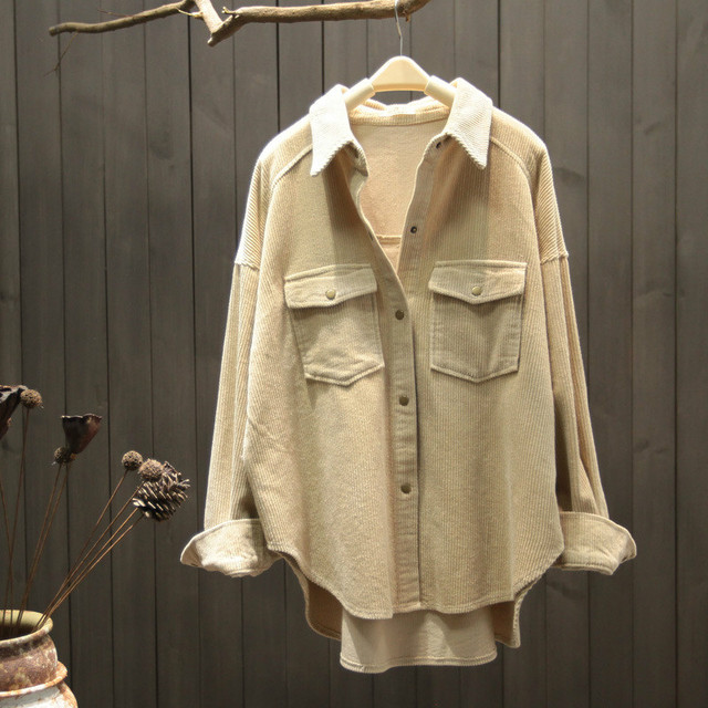 2021 New Spring Autumn Women Elegant Corduroy Pockets Top Blouse Office Ladies Retro Button Solid Long Sleeve Outwear Shirt A131 2