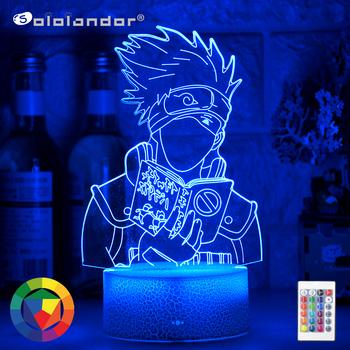 Najnowszy 3d Illusion Led lampka nocna Kakashi Hatake Holding Book Nightlight prezent dla dzieci chłopcy dekoracja sypialni dla dzieci lampa stołowa tanie i dobre opinie Sololandor Night Light CN (pochodzenie) AYG02-NN-519 Lampki nocne Z tworzywa sztucznego LED Bulbs PRZEŁĄCZNIK Ogniwo suche