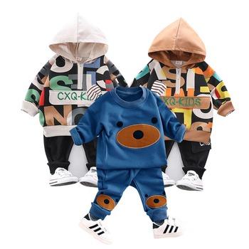 Odzież dziecięca 2017 jesienno-zimowa dziewczęta chłopięce ubrania Cartoon niedźwiedź T koszula spodnie 2 szt Dziecięce kombinezony sportowe zestawy ubranek dla niemowląt tanie i dobre opinie BOTEZAI Moda CN (pochodzenie) O-neck Swetry boys set COTTON Unisex Pełna REGULAR Pasuje prawda na wymiar weź swój normalny rozmiar