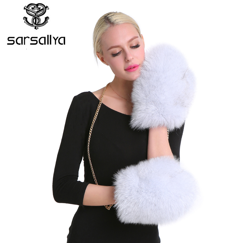 SARSALLYA Mittens Winter Gloves Lined New Women Luxury Brand Genuine Fur Glove Solid Removable Chain Fox Fur Glove