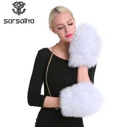 SARSALLYA Mittens Winter Gloves Lined New Women Luxury Brand Genuine Fur Glove Solid Removable Chain Fox Fur Glove