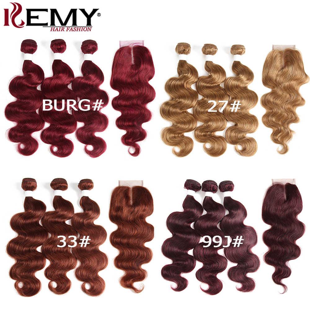 Coklat Auburn Rambut Manusia Bundel dengan Penutupan 4X4 Kemy Rambut 3 Pcs Brasil Tubuh Gelombang Rambut Manusia Menenun bundel Tidak Remy Rambut