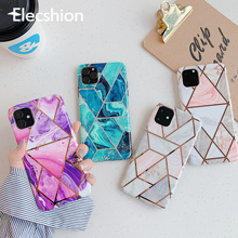 Elecshion Geometric Marble Phone Case For iPhone 11 Pro Coque Holder Max Soft Funda Back Cover Bumper