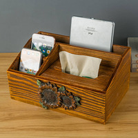 European Retro Multi function Tissue Boxes Creative Wooden Storage Box Seat Type Tissue Holder Home Kitchen Storage Organization