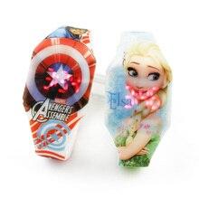 2019 световой Мстители капитан детские часы для мальчиков принцесса Эльза светодиодные детские часы девочек Монтре анфан часы цветок часы
