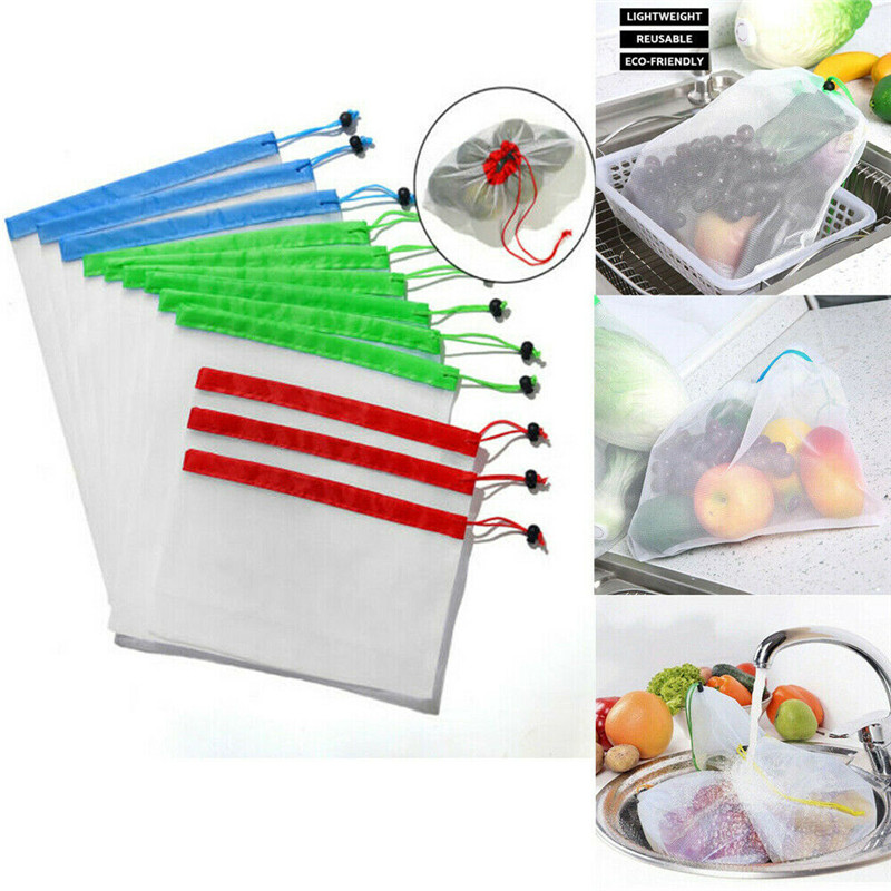 NoEnName-Null 1 Set Reusable Produce Bags Black Rope Mesh Vegetable Fruit Toys Storage Pouch Multifunction Packing Organizer